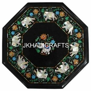 "15"" Black Marble Coffee Center Table Top Elephant Inlay Mosaic Home Decor"