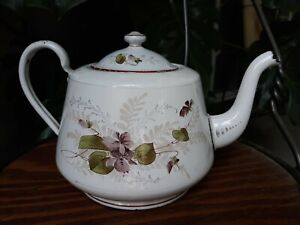 Antique 1880 Primitive White Graniteware Enamelware Teapot Kettle Pansy Flowers