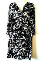 WOMEN'S STYLE & CO BLACK WHITE FLORAL 3/4 SLEEVE DRAPE NECK DRESS PLUS SIZE 1X