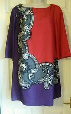 Monsoon Vestido, Túnica, rojo, púrpura, paisley, tamaño 12