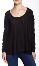 NWT Free People New Hope Baby Doll Top Shirt Blouse Lace Black Xs S