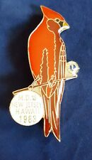 """Vintage 2"""" Brass Enameled Red Robin Lions Club Pin """"MD New Jersey Hawaii 1983"""""""