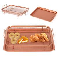 2X BBQ Copper Crisper Non-Stick Oven Mesh Baking Tray Chips Crisping Basket set