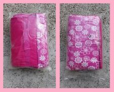Coperta pile plaid picnic fondo impermeabile rosa fucsia fluo fiori bianchi