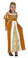 Girls Gold Tudor Costume Queen Medieval Royal Fairytale Dress Outfit NEW 4-13