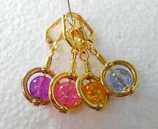 Ohrhänger Klapp Brisur Crackle Glas Perle / Farbwahl rosa lila gelb hellblau