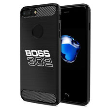 iPhone 7 Plus Case, Ford Mustang Boss 302 Black TPU Shockproof Carbon Fiber