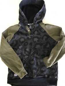 Shaun White Boys Medium Camo Print 3 Snap Pullover Hoodie Cotton Blend TS9