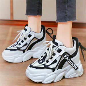 Women Breathable Platform Wedge High Heels Fashion Sneakers Casual Shoes Boots