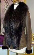 Luxus Designer Lammfelljacke mit echtem Fuchspelz Gr.40/42 NEU