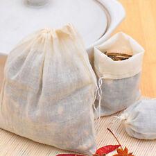 10pcs 8x10cm Cotton Muslin Drawstring Straining Bag for Tea Herb Bouquet Spice#L