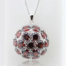 Large Round Red Garnet 925 Silver pendant Necklace 18' adjustable Statement