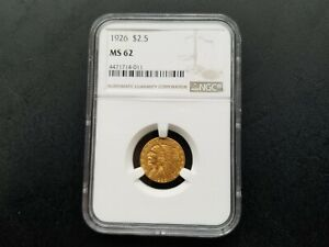 1926 Indian Head Quarter Eagle Gold $2.5 MS 62 NGC. Nice coin with great detail!