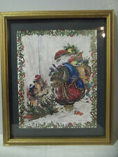 """Home Interiors Peggy Abrams Santa & Kids 18 1/2"""" X 15 1/2"""" Framed Picture"""