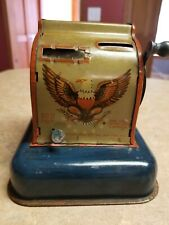 Vintage National 3-Coin Register Bank Tin Toy Hoge Mfg Ny Eagle to Restore