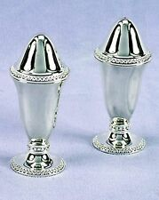 "Salt & Pepper Shakers 4.5"" fancy silver, Footed Silverplate, new"