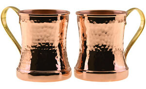 2 X Solid Pure 1mm Hammered Copper Water Moscow Mule Mug Ayurveda Cup Set,12 Oz