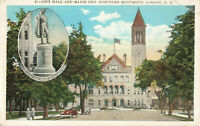 Postcard City Hall Major General Schuyler Monument Albany New York