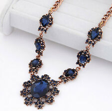 SHIP FROM NYC Vintage gold plated dark blue gems bib necklace US SELLER
