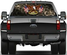 Eagel USA Flag Military Navy Seabees  Rear Window Graphic Decal  Truck SUV