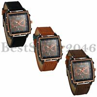 Men Big Square Dial Date Military Sports Quartz Analog Leather Band Wrist Watch
