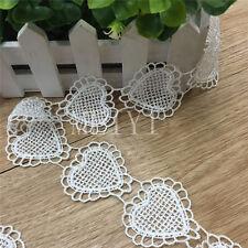 20x Hearts Vintage Lace Edge Trim Wedding Dress Ribbon Applique DIY Sewing Craft