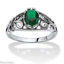 WOMENS STERLING SILVER EMERALD MAY BIRTHSTONE SCROLL RING SIZE 5 6 7 8 9 10