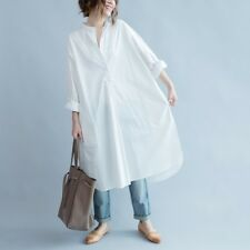 Ladies Cotton Long Shirt Dress White Blouse Casual Baggy White Oversized Fashion