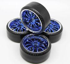 4 PCS Wheel Rim +HPI Hard Plastic Drift Tires FOR 1/10 RC On Road Car Blue Color