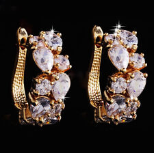 14k Gold GF Earrings made w Swarovski Crystal Clear Stone Prom Bridal Jewelry