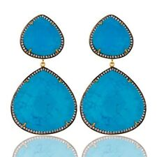 Natural Turquoise CZ 18K Gold Plated 925 Sterling Silver Dangle Earrings Jewelry