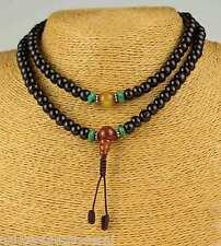 MALA collier bois boules pierre précieuse de rose cornaline ambre bouddhisme