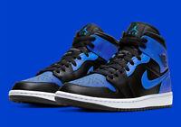 Air Jordan 1 Mid Basketball Shoes Black Hyper Royal White 554724-077 Men's NEW