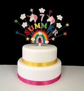 Rainbow unicorn birthday cake topper,  personalised name and age cake decoration