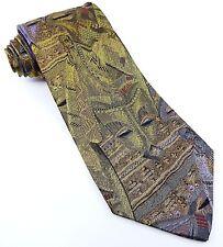 Vintage Silk Tie Woven Mask Polynesian Women Gold Purple Necktie Marinelli Italy