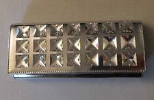 TED ROSSI Silver Jewel Embellished Leather Handbag Clutch Purse New