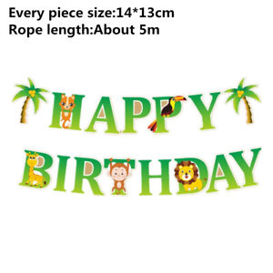 Coconut palm tree Happy Birthday Paper Banner Garland Bunting Party Decoration