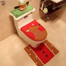 Set Christmas Xmas Decor Santa Toilet Seat Cover Bathroom YD