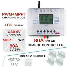 LCD 80A 12V/24V MPPT Solar Panel Regulator Charge Controller&USB+4X Z Bracket MT