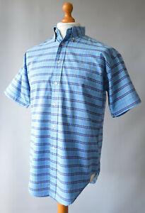 Men's Blue Checked, YSL, Yves Saint Laurent Pour Homme Short Sleeved Shirt Sz M.