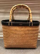 Vintage KATE SPADE NEW YORK Natural Straw Black Trim Bamboo Purse Ratan Bag