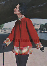 """Knitting Pattern Ladies 1950s Swing Coat Chequered Cuffs & Edging. 35""""-37"""" Bust."""