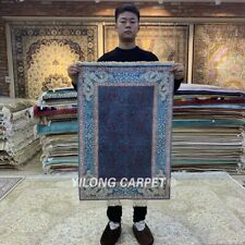 YILONG 2'x3' Purple Handmade Silk Area Rug Pictorial HandKnotted Carpet HF127B
