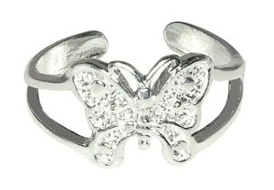 Sterling Silver .925 Beautiful Butterfly Toe Ring adjustable size | Made In USA