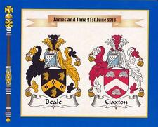 """DOUBLE COAT OF ARMS PRINT IDEAL WEDDING OR ANNIVERSARY GIFT SIZE 10"""" x 8"""""""