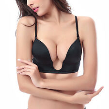 Women Deep U V Plunge Push up Bra Multiway Clear Back Straps Plus size A-E