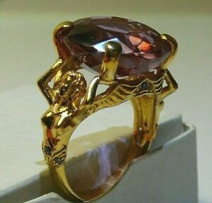 Ring 24k Yellow Gold-Plate Alexandrite (Lab.) Sterling Silver Natural Topaz
