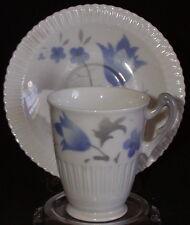 Syracuse China Air Brush Shelledge Demitasse Cup & Saucer Set Blue Flowers