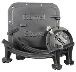 Barrel Stove Kit Door Leg Steel Drum Wood Heater Fireplace Converter Cast Iron