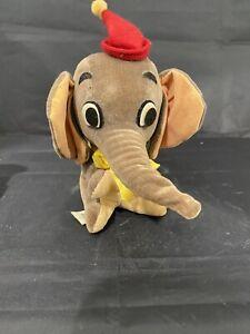"1966 Vintage 6""Velvet Plush Dumbo Wood Filled Walt Disney Productions Made Japan"